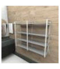 prateleira industrial banheiro aço cor branco 120x30x98cm (c)x(l)x(a) cor mdf cinza modelo ind42cb