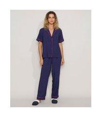 pijama feminino camisa com vivo contrastante manga curta azul marinho
