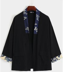 chaqueta de punto con estampado de retazos de abrigo de protección solar retro casual para hombre