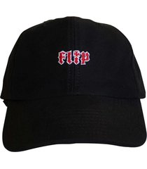 boné flip skateboards dad hat aba curva hkd logo preto - kanui