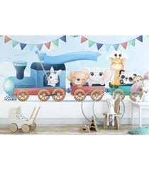 fototapeta dla dzieci pociąg i zwierzęta