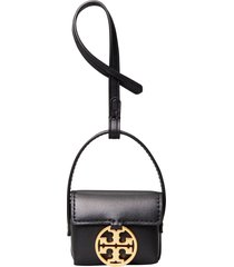 tory burch miller leather airpods case - black
