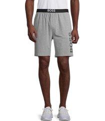 boss hugo boss men's identity logo heathered shorts - grey - size xxl