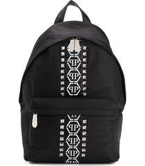 philipp plein junior mochila com logo de tachas - preto