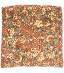 chanel camellia printed scarf brown/floral print sz: