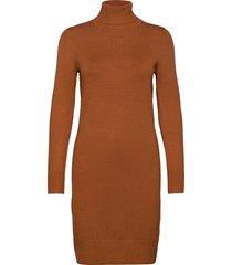u6801, milasz rollneck dress knälång klänning brun saint tropez