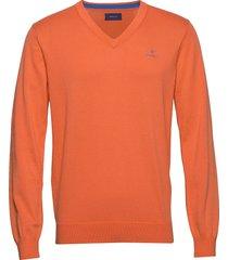 classic cotton v-neck gebreide trui v-hals oranje gant