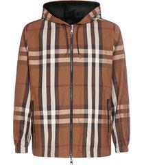 burberry check print reversible nylon hooded jacket