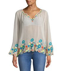 border embroidered peasant top