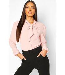 blouse met knopen, volle mouwen en strik, blush