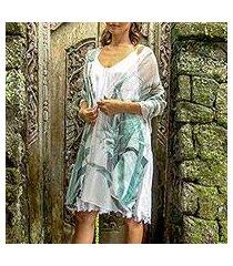 hand-painted silk shawl, 'celadon pineapple' (indonesia)