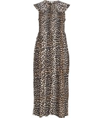 cotton silk jurk knielengte bruin ganni