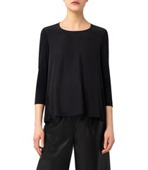 akris punto a-line panel blouse, size 6 in black at nordstrom