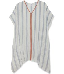 women's lightweight stripe linen cover up blue multi one size from sole society