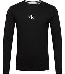 center monogram ls tee t-shirts long-sleeved svart calvin klein jeans