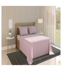 lençol casal com elástico teka harmonia rosa 100% algodáo
