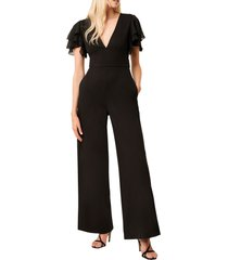 women's french connection tobina frill sleeve ponte knit jumpsuit