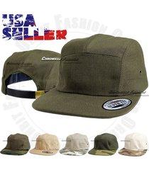5 panel cap solid camo biker baseball strapback adjustable flat bill hat unisex