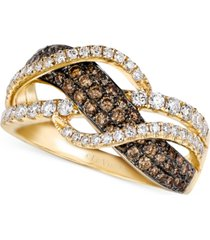 le vian chocolate and white diamond woven ring in 14k gold (1 ct. t.w.)