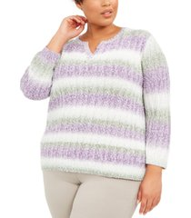 alfred dunner plus size loire valley embellished popcorn sweater