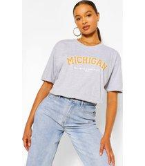 oversized michigan slogan boyfriend t-shirt, grey