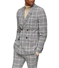 men's topman kenny check super skinny sport coat, size 34r - grey