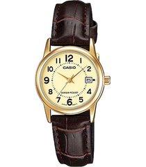 reloj casio ltp_v002gl_9b marrón cuero