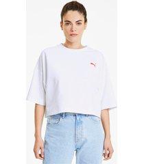 evide form stripe cropped t-shirt voor dames, wit/aucun, maat xl | puma