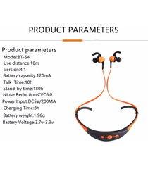 audífonos bluetooth estéreo hd manos libres deportivos, más reciente bt-54 inalambricos bluethooth auricular reducción de ruido deportivo (naranja)