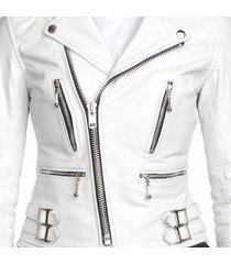 womens biker leather jacket, white color jacket women's, belted leather jacket