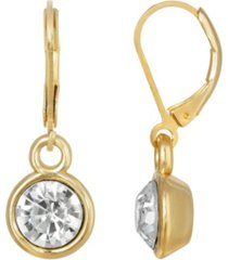 2028 gold-tone round crystal drop earring