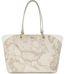 alviero martini 1a classe designer handbags, geo sahara large coated canvas & leather tote bag
