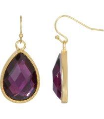 2028 women's gold tone purple pear shape drop earring