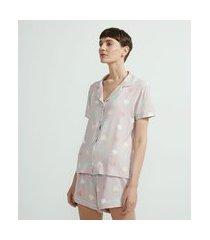 pijama short doll americano em viscolycra estampa corações | lov | roxo | gg