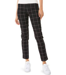 high-waist check skinny ankle pants