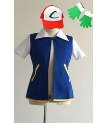 ash ketchum costume pokemon jacket coat custom size blue jacket  gloves hat