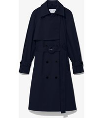proenza schouler white label cotton belted trench coat navy/blue l