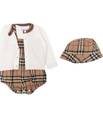 burberry set with body, cardigan and hat