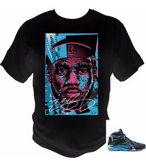 lebron james 12 t-shirt black/pink pow/blue lagoon theme made to match shoes
