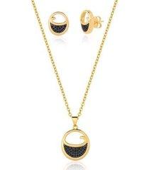conjunto estelle semijoias colar + brinco zircônias onix nicole feminino - feminino