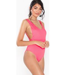 topshop ribbed scoop swimsuit baddräkter