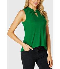 yoins volante cortado verde cuello blusa sin mangas
