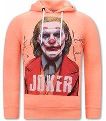 sweater tony backer joker print hoodies orange