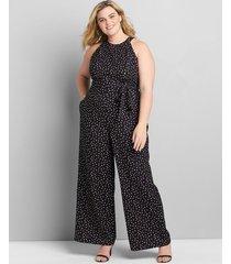 lane bryant women's sleeveless halter lena jumpsuit 28 black and white dot