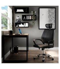 cadeira de escritório diretor giratória wise preta