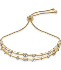 inc gold-tone crystal double-row slider bracelet, created for macy's