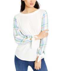 vince camuto mixed-media top