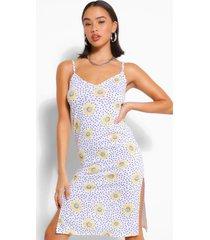 daisy print jersey midi slip dress, ivory