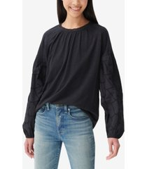lucky brand eyelet-sleeve top