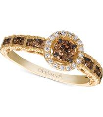 le vian chocolatier chocolate diamond & vanilla diamond statement ring (5/8 ct. t.w.) in 14k gold